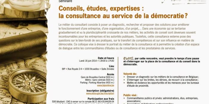 Séminaire : «Conseils, études expertises : la consultance au service de la démocratie ?»